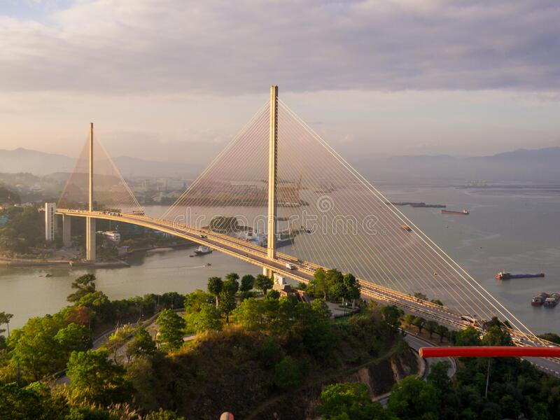 Bai Chay bridge, Halong Bay, Vietnam. View of the Bai Chay bridge in Halong Bay, Vietnam stock images