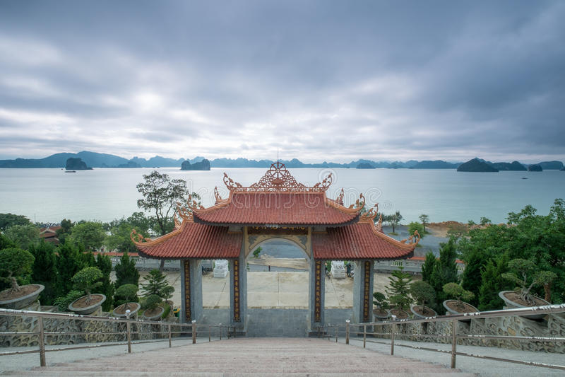 Bai Tu Long Bay view from Cai Bau Pagoda - Truc Lam Temple stock photos
