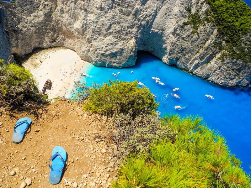 Baia del naufragio, isola di Zacinto, Grecia fotografia stock libera da diritti