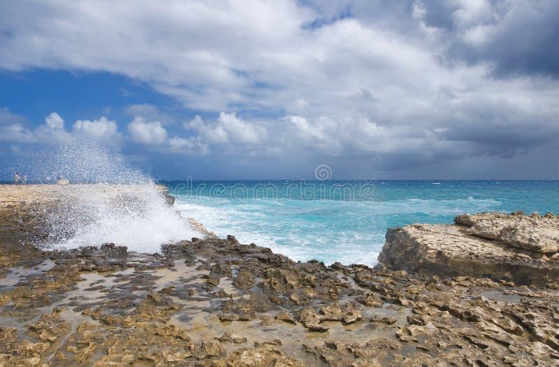 Baia del ponte del ` s del diavolo - Antigua e Barbuda marino caraibico fotografia stock