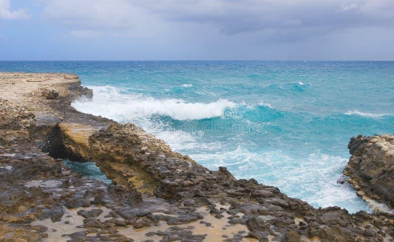 Baia del ponte del ` s del diavolo - Antigua e Barbuda marino caraibico immagine stock libera da diritti