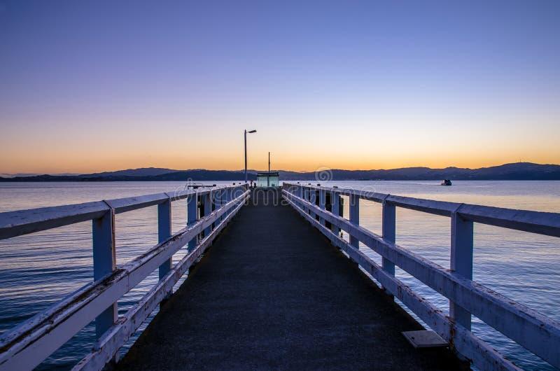 Baia del sole in Wellington Harbour, Nuova Zelanda fotografia stock
