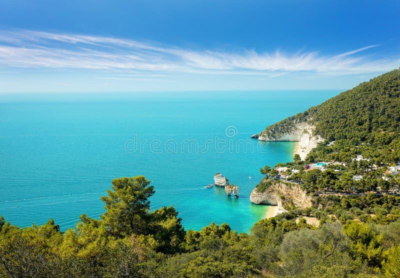 Baia-delle Zagare-Strand, Gargano und Faraglioni-Felsformation abgefressen durch Wellen in Puglia, berühmter touristischer Bestim stockfotografie