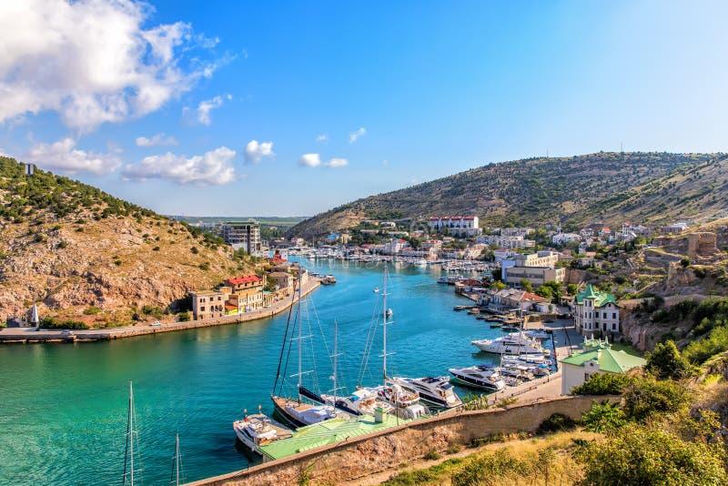 Baia di Balaklava, bella parte di Sebastopoli, Crimea immagine stock