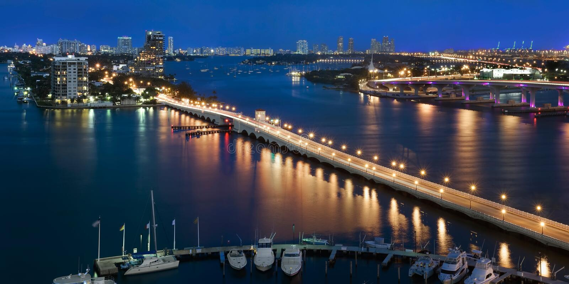 Baia di Biscayne, Miami Florida S.U.A. fotografie stock libere da diritti