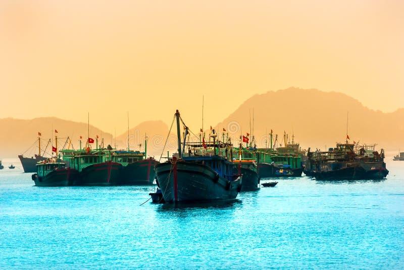Baia di Halong, Vietnam. Sito del patrimonio mondiale dell'Unesco. fotografia stock libera da diritti