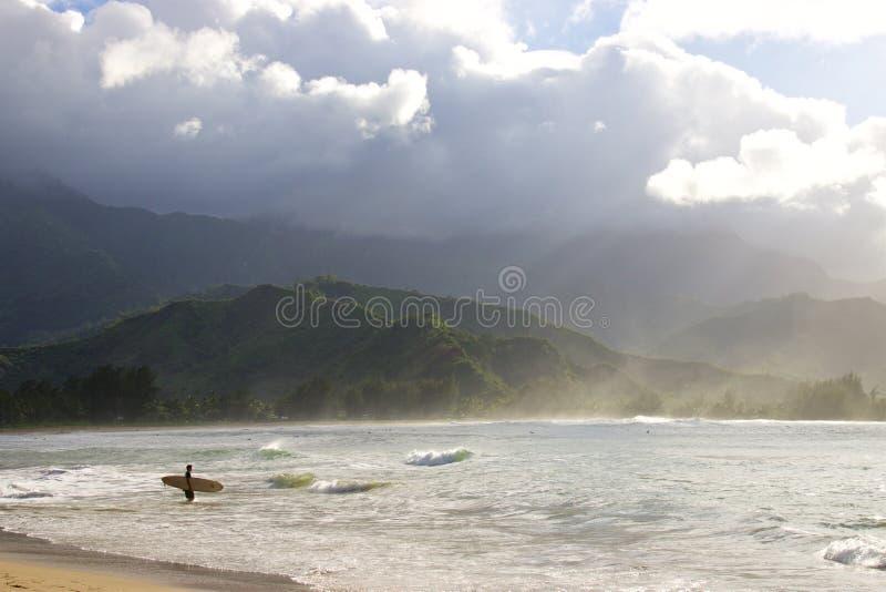 Baia di Hanalei, Kauai fotografia stock libera da diritti