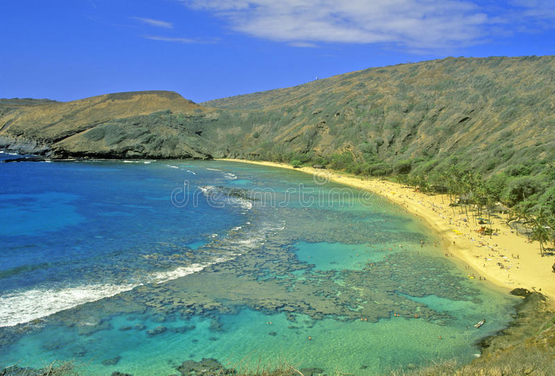 Baia di Hanauma, Honolulu, Hawai fotografie stock libere da diritti