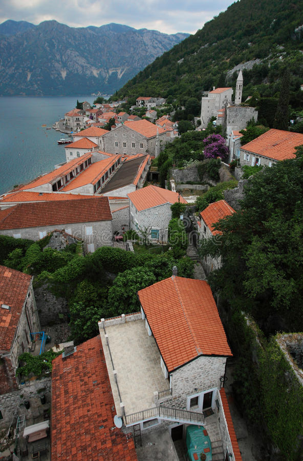Baia di Kotor, Perast fotografia stock