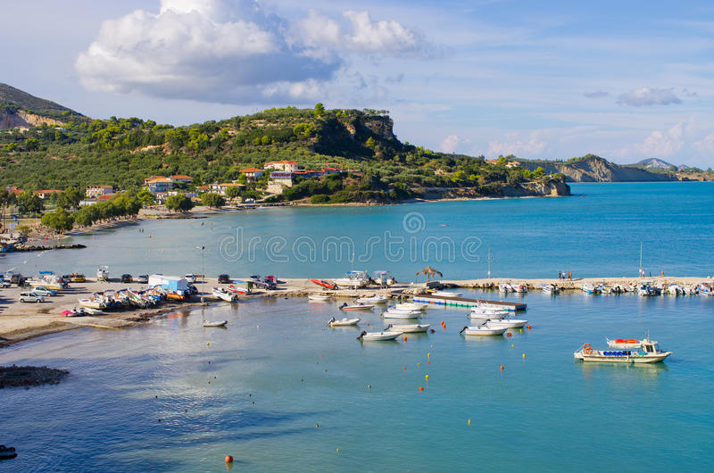 Baia di Limni Keriou, Zacinto, Grecia fotografia stock