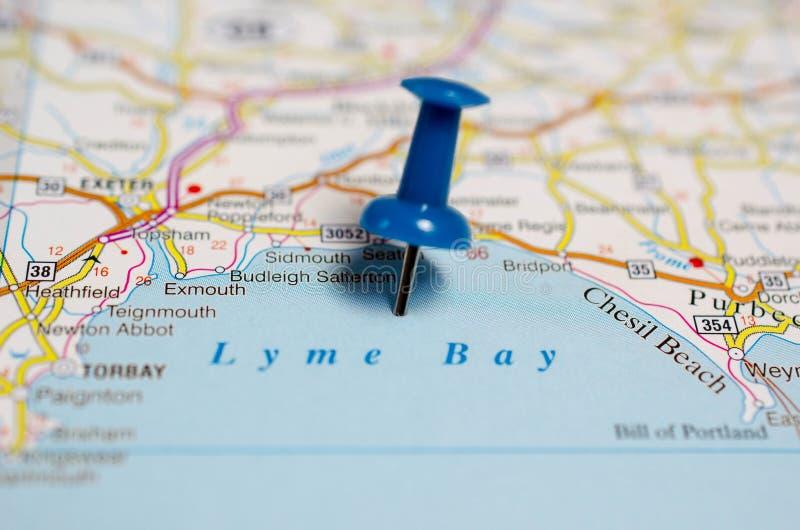 Baia di Lyme sulla mappa fotografie stock libere da diritti