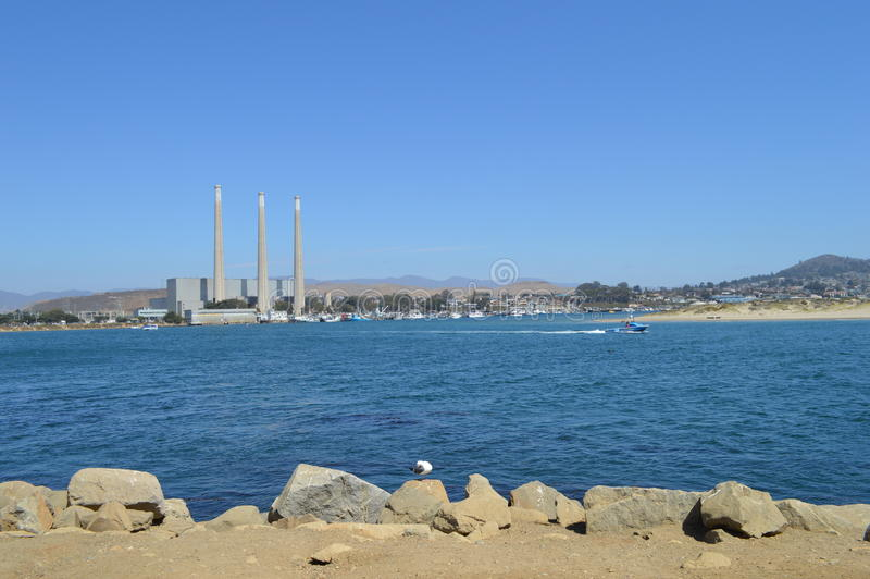 Baia di Morro, pianta di desalificazione di California ed anatra fotografia stock libera da diritti