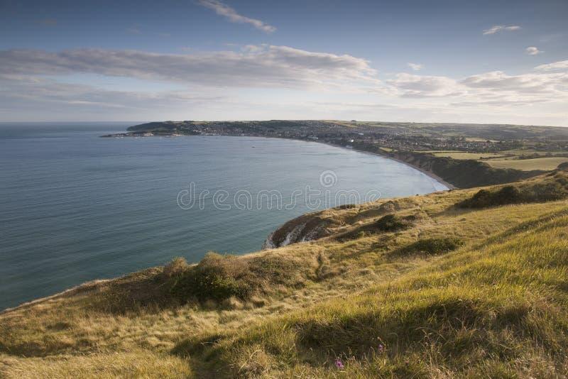 Baia di Swanage, Dorset fotografia stock