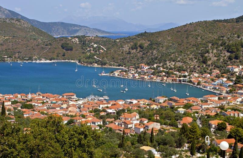Baia di Vathi dell'isola di Ithaki in Grecia fotografia stock