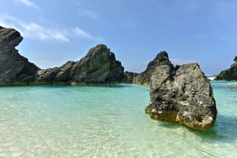 Baia a ferro di cavallo della baia - Bermude fotografia stock libera da diritti