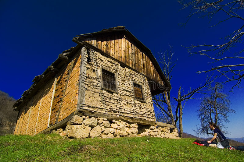 Baia Mare - Romania. A young couple taking a break next to a historic house in Baia Mare, Romania royalty free stock image