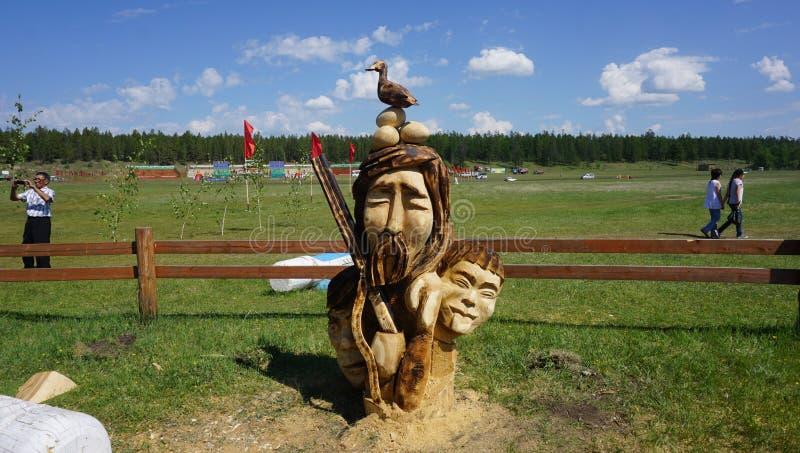 Baianai - Dieu yakutian du Sakha de la chasse photos stock