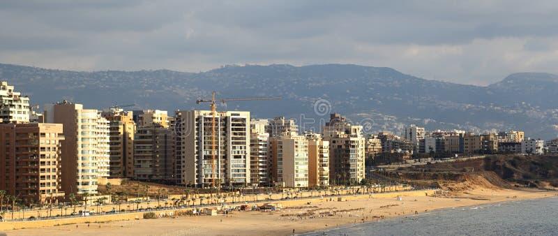 baida海滩贝鲁特el ramlet s铺沙白色 免版税库存图片