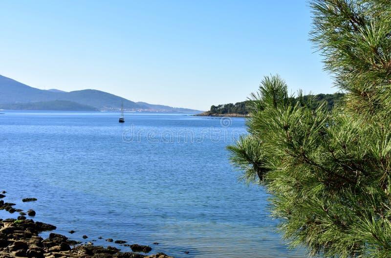 Baie avec le bateau à voile et le pin Roches et eau claire, mer bleue et jour ensoleillé de forêt, Galicie, Espagne photos stock