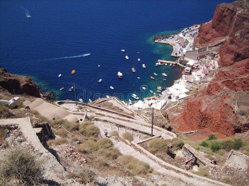 Baie d'île de Santorini images libres de droits