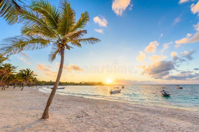 Baie d'Akumal - plage blanche des Caraïbes dans le Maya de la Riviera, côte de Yucatan et Quintana Roo, Mexique images stock