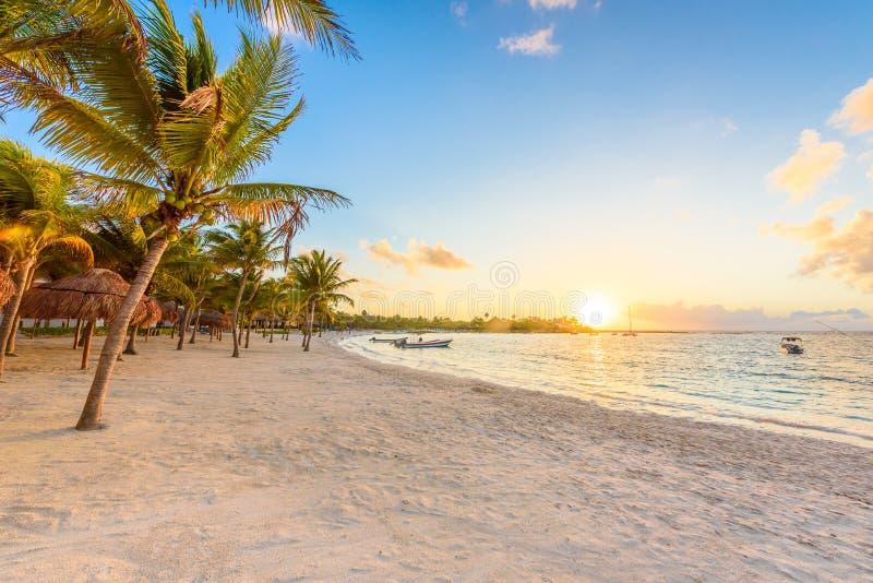 Baie d'Akumal - plage blanche des Caraïbes dans le Maya de la Riviera, côte de Yucatan et Quintana Roo, Mexique image libre de droits