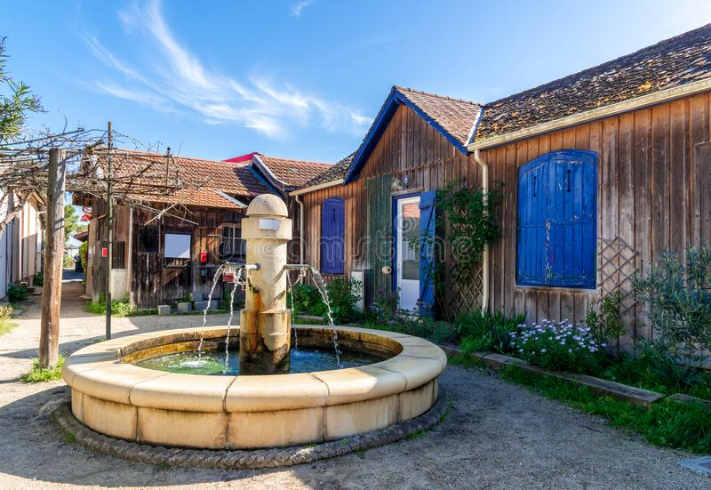 Baie d'Arcachon, France L'endroit d'un village d'hu?tre pr?s de Cap Ferret images stock
