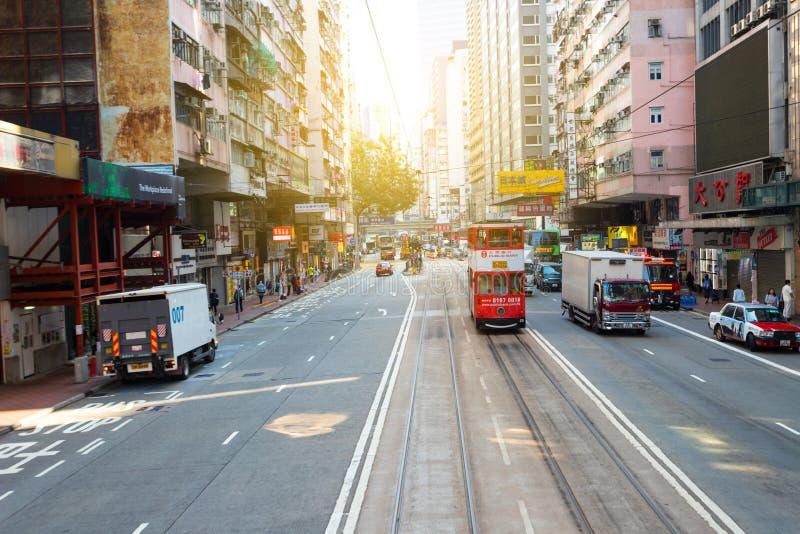 Baie de chaussée, Hong Kong - 23 novembre 2018 : Les trams de tram d'autobus à impériale sont également une attraction touristiqu photos stock