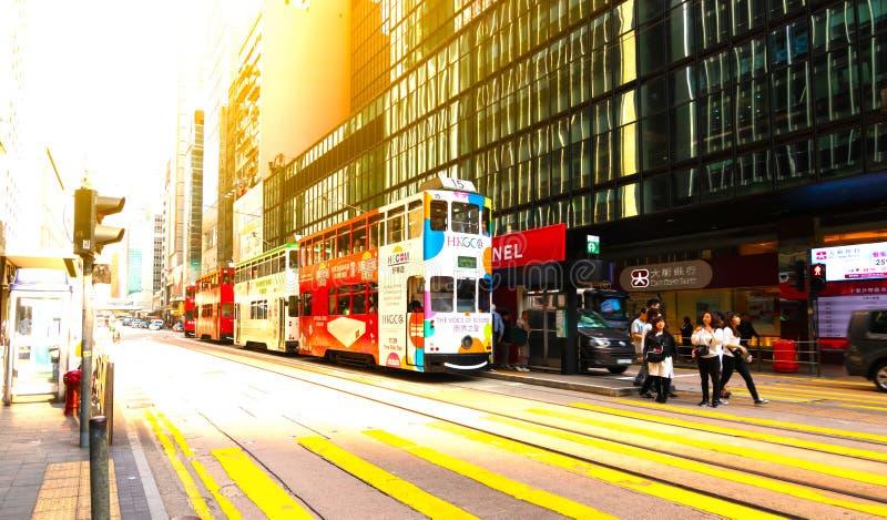 Baie de chauss?e, Hong Kong - 23 NOVEMBRE 2018 : Trams d'autobus ? imp?riale Trams également une attraction touristique et import photo libre de droits