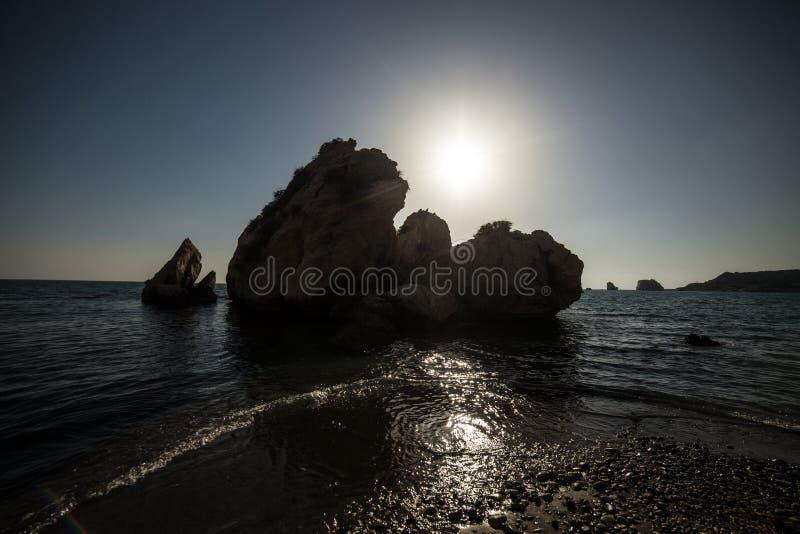 Baie de coucher du soleil d'Aphrodite photo stock