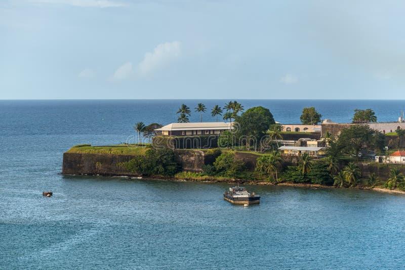 Baie de Fort de France - île tropicale de la Martinique, mer des Caraïbes images libres de droits