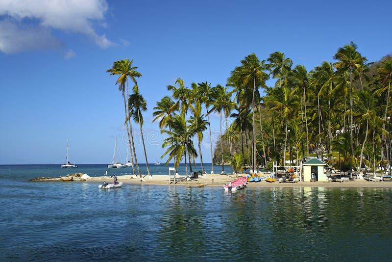 Baie de Marigot, St Lucia, des Caraïbes image libre de droits