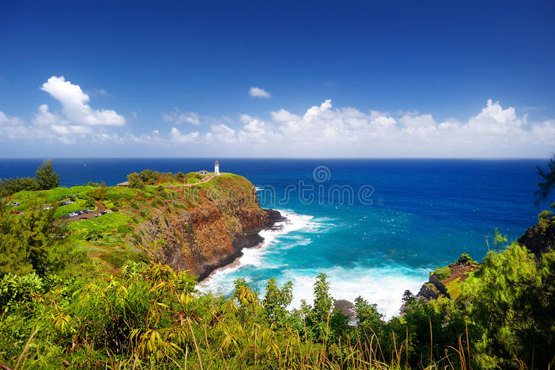Baie de phare de Kilauea un jour ensoleillé dans Kauai image libre de droits
