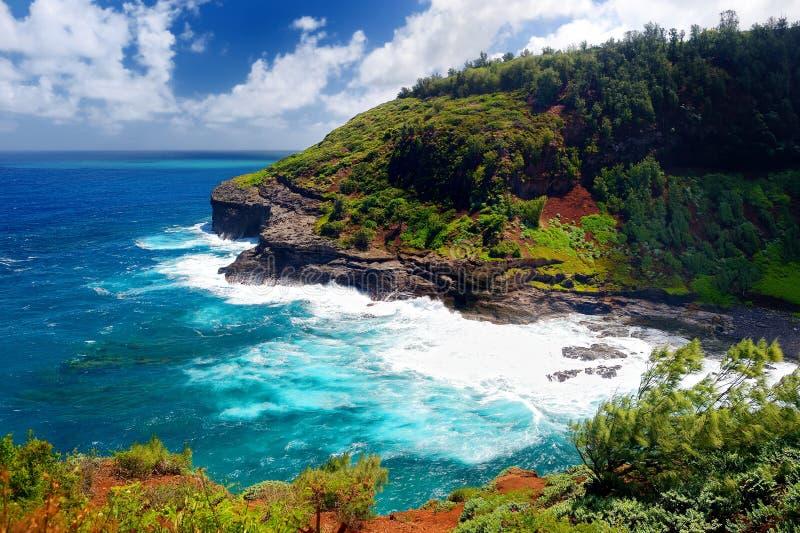 Baie de phare de Kilauea un jour ensoleillé dans Kauai photographie stock