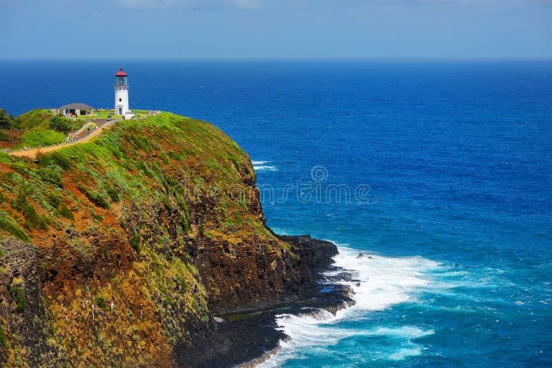 Baie de phare de Kilauea un jour ensoleillé dans Kauai images stock