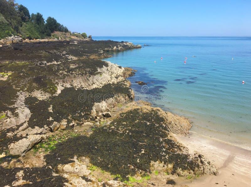 Baie de Rozel, île de débardeur, Royaume-Uni photographie stock libre de droits