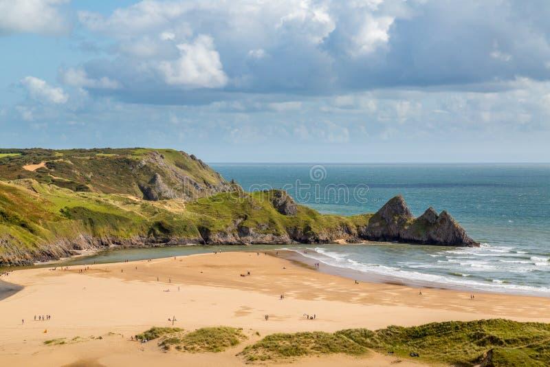 Baie de trois falaises, Swansea, R-U images libres de droits