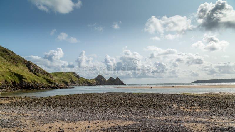 Baie de trois falaises, Swansea, R-U image stock