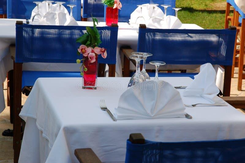 Baie des Anges - restaurant royalty-vrije stock afbeeldingen