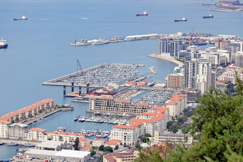 Baie du Gibraltar, vue du rocher de Gibraltar images libres de droits