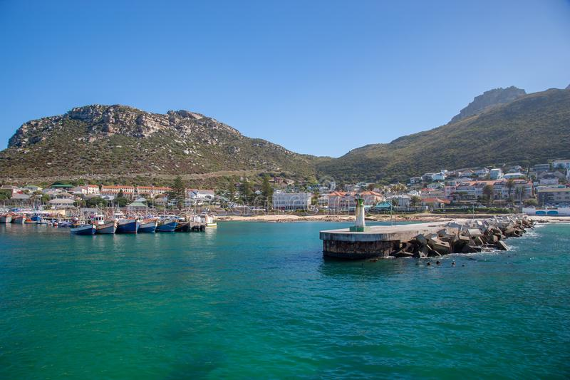 Baie Habour, le Cap-Occidental, Afrique du Sud de Kalk photo libre de droits