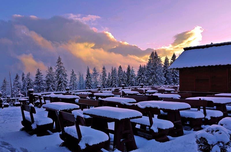 Baie neigeuse de beauté photo stock