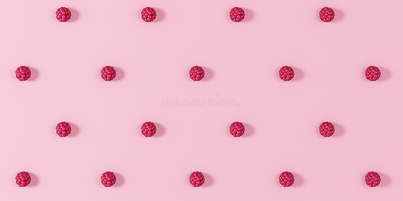 Baies de framboise sur un fond rose - illustration 3D illustration stock