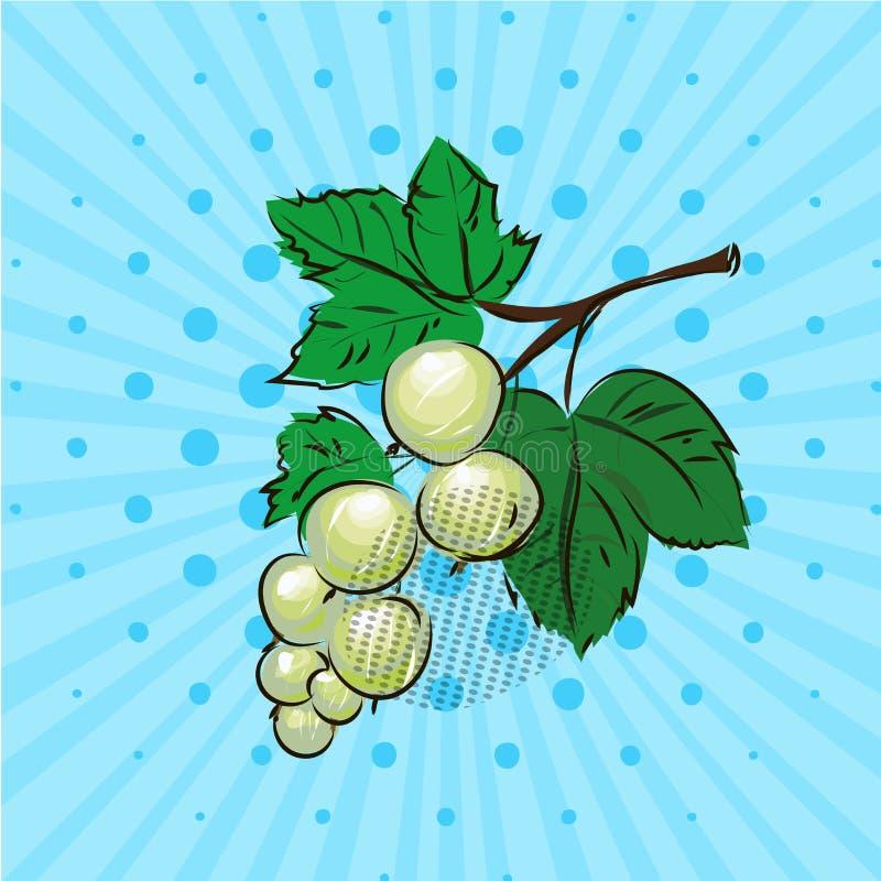 Baies de groseille blanche et feuilles de vert sur le fond bleu, lignes, points Illustration de vecteur Tiré par la main dans l'a illustration libre de droits