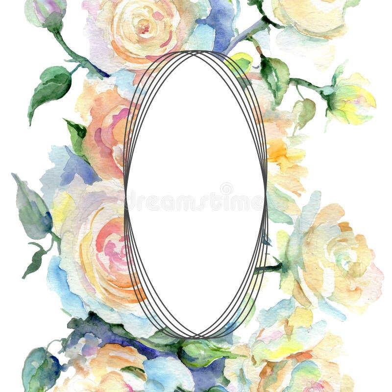 Baige stieg botanische mit Blumenblume des Blumenstraußes Aquarellhintergrund-Illustrationssatz Feldgrenzverzierungsquadrat vektor abbildung