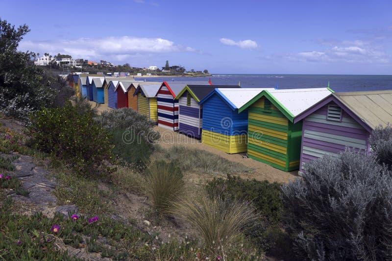 Baigner des boîtes à la plage de Brighton image stock