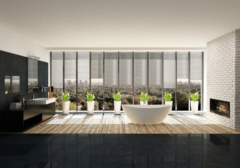 Baignoire avec des plantes d'intérieur dans la salle de bains moderne illustration libre de droits