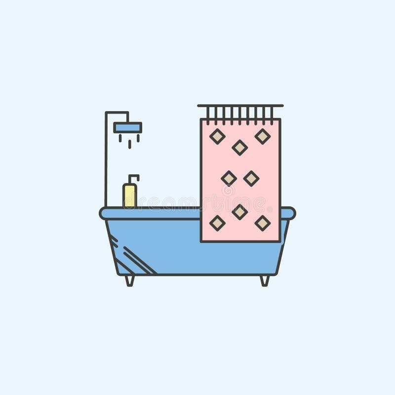 baignoire avec l'icône de rideau en douche Élément d'icône de ménage pour des applis mobiles de concept et de Web Baignoire color illustration de vecteur
