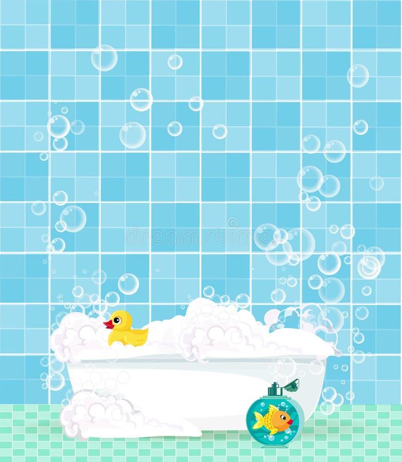 Baignoire avec la mousse, bulles, canard en caoutchouc sur le fond carrelé bleu illustration libre de droits