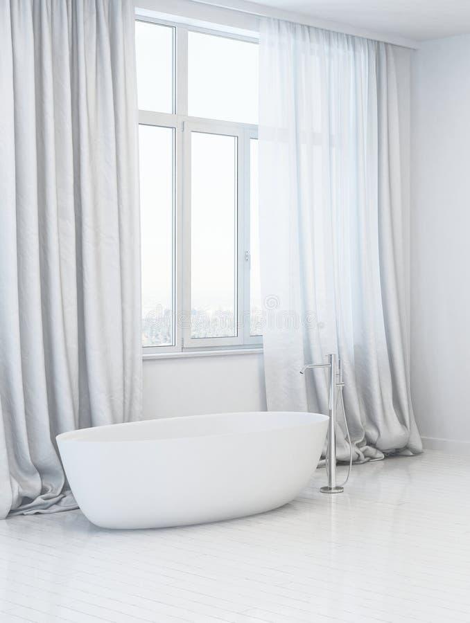 Baignoire blanche d'isolement dans la salle de bains contemporaine illustration de vecteur